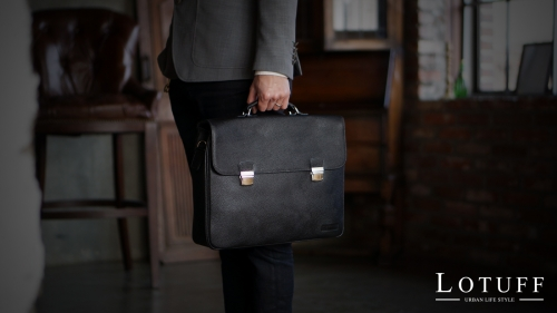 Two Buckle Leather Briefcase